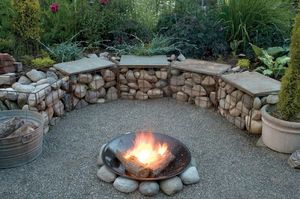 Gabion Baskets Used In Fire Pit Seating