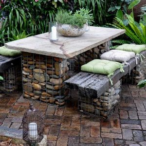 ferntree-gully-garden-features-inspiration-outdoor seating-gabion-baskets