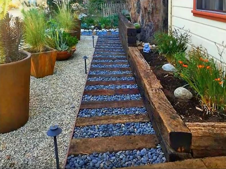 pebbles stone and sleepers