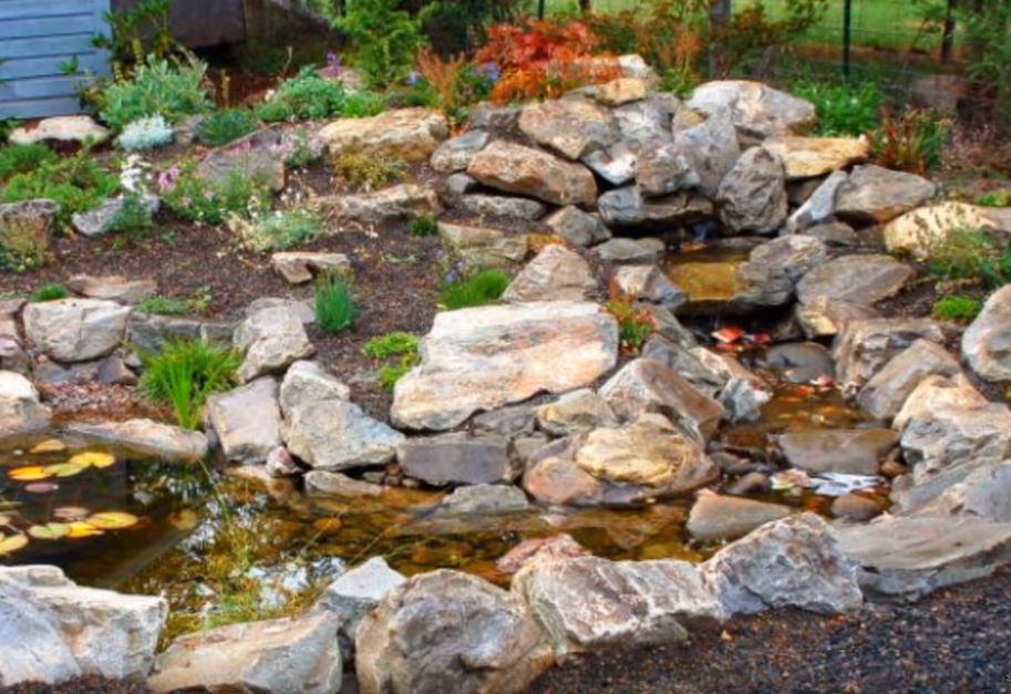 A Running Stream Made From Rocks