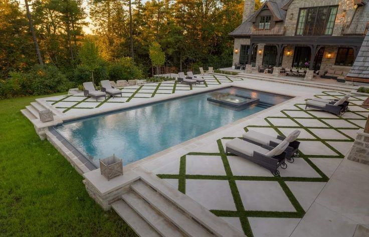 Grand Pool Area With Pavers