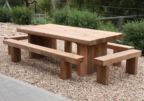 Outdoor Table Made From Redgum Sleepers
