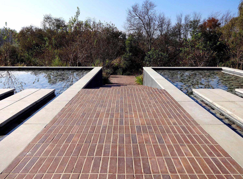 Stacked Bond Brick Paving Path
