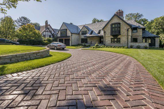 45 Degree Herringbone Brick Paver Driveway