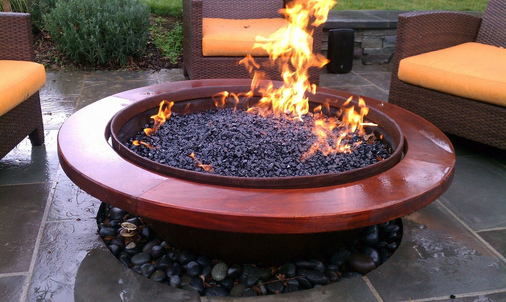 Gas Firepit With Wood