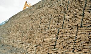 A Sloped Gabion Wall