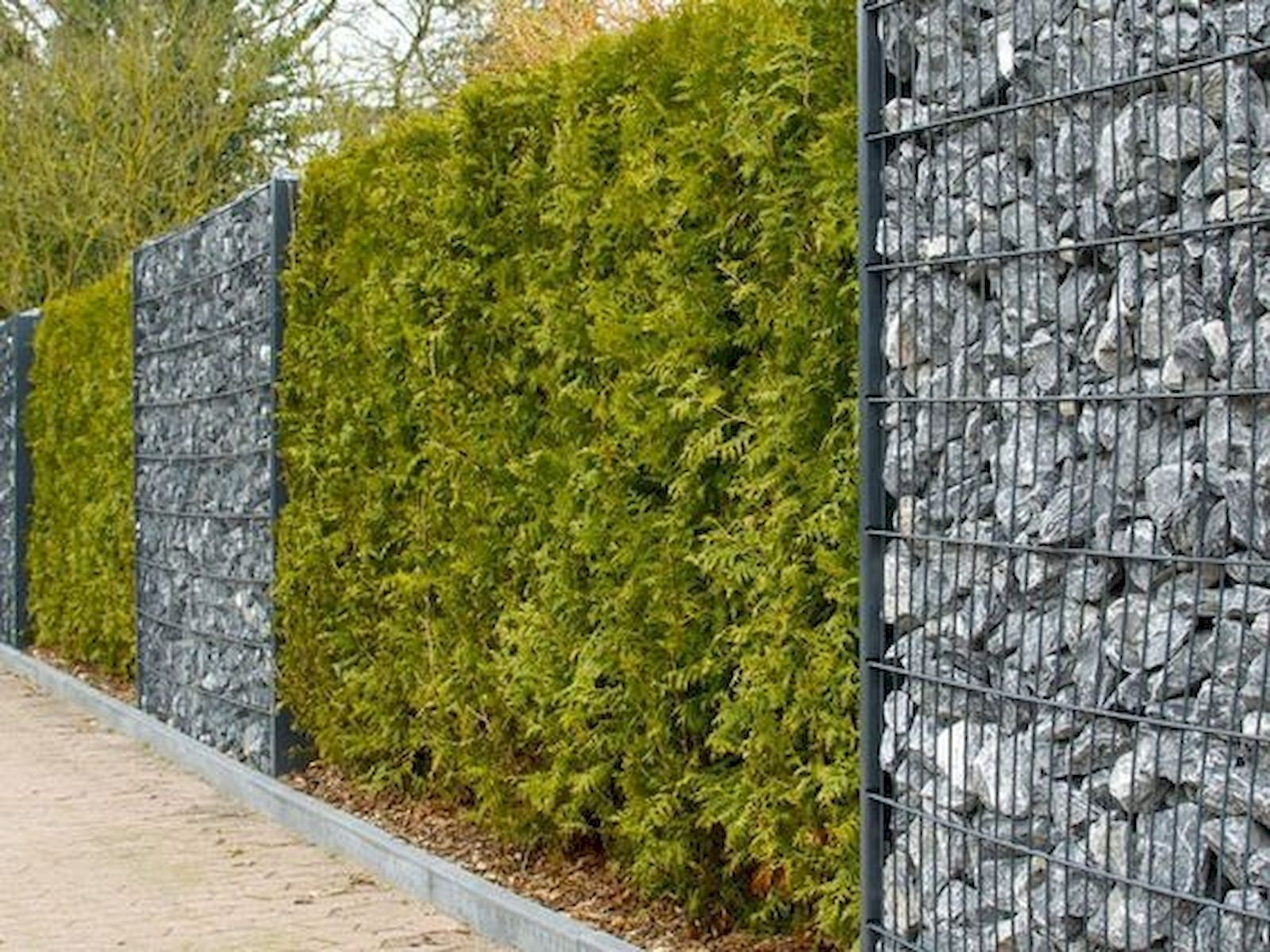 Fence Made From Gabion Baskets