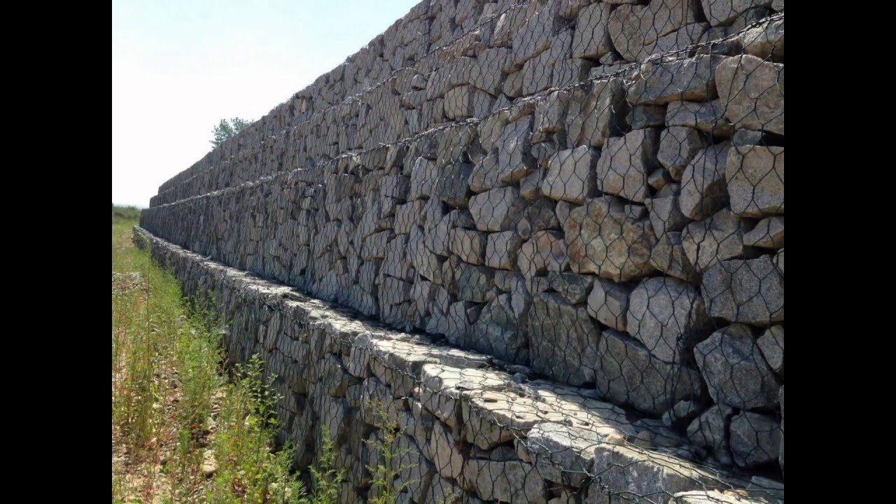 A Stepped Gabion Basket Wall