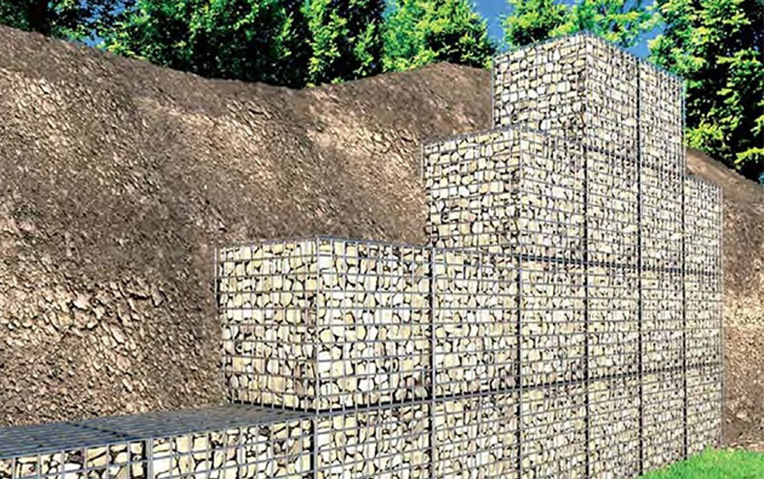 This Gabion Basket Wall Will Need Two Wide On The Base